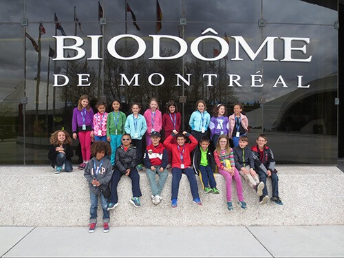 4th and 5th grade students of the French american academy in front of the biome of Montreal in Canada