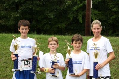 Athletes from the French American Academy showing their trophy