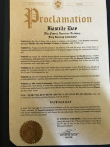 Bastille Day Proclamation during French Flag Raising Ceremony