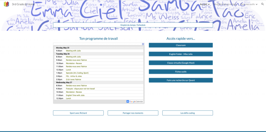A Google Site for each class in New Milford