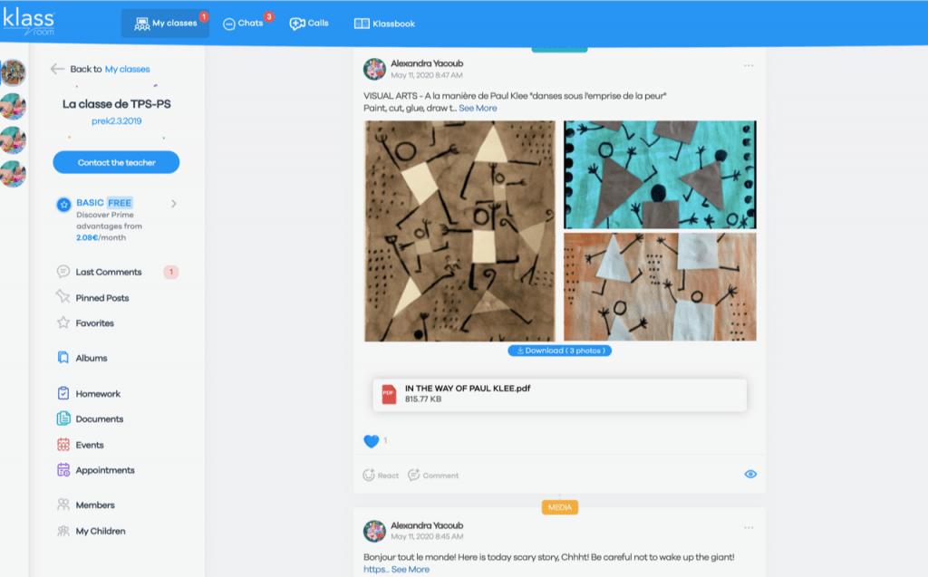 Klassroom app in younger grades