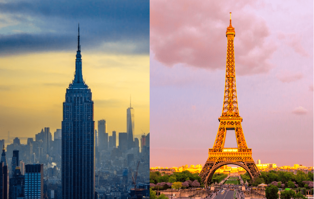 Comparison image of the Empire State Building and the Eiffel Tower.