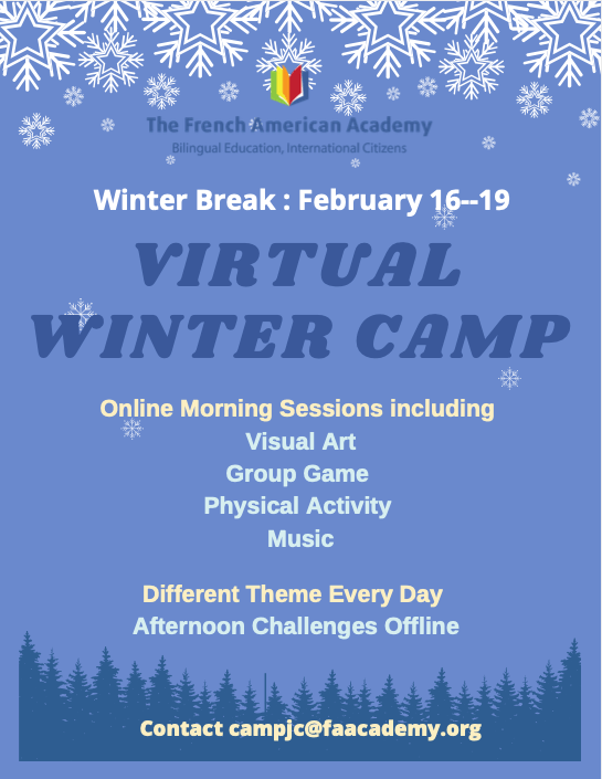 page 1 of the winter camp 2021 leaflet
