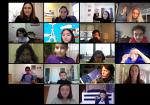 Author and Writer Coralie Saudo in a zoom meeting with The French American Academy students and teachers