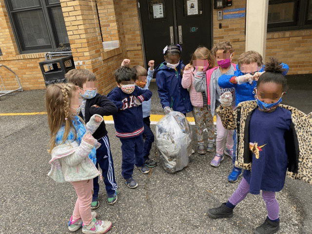 Preschoolers celebrating earth day