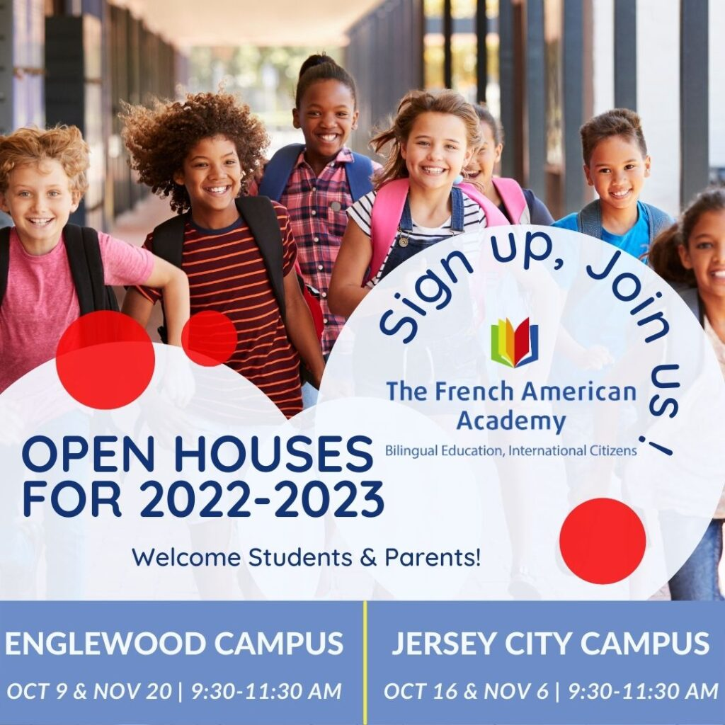 Open house 2022 2023 styled image with Children running and smiling in the background and the logo of the French American Academy in the foreground